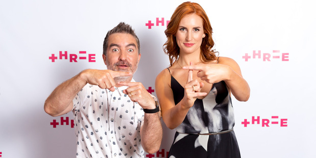 Presenters Samantha Hayes and Dai Henwood show off the new look Three