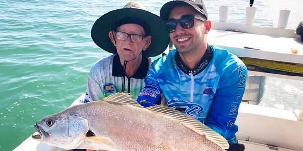 Ray Johnstone with his fishing mate Mati Batsinilas. Photo / Supplied via Facebook