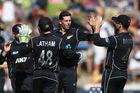 Mitchell Santner celebrates the wicket of Glenn Maxwell with teammates. Photo / Photosport