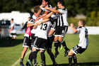 Hawke's Bay United celebrate the match winning goal. Photo / Photosport