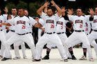 Black Sox perform a haka at the  Challenge Cup softball tournament. Photo/Photosport
