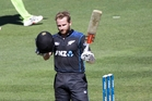 Kane Williamson celebrates another one-day century. Photo / Hawke's Bay Today