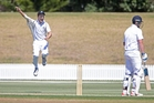 Hawke's Bay fielder Brad Schmulian shows BOP English professional Alex Lees where to go at Bay Oval, Mt Maunganui, yesterday. PHOTO/NZME.