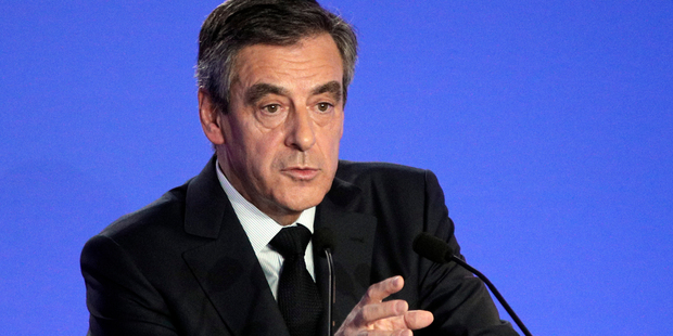 French conservative Francois Fillon holds a press conference at his campaign headquarters in Paris, France. Photo / AP