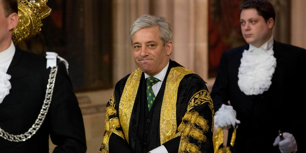 Loading Britain's Speaker of the House of Commons John Bercow during a Queen's Speech. Photo / AP file