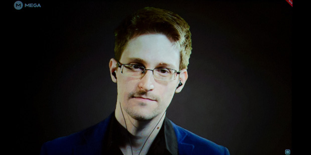 USA former NSA whistleblower Edward Snowden at the 2014 event in the Auckland town hall, The Moment of Truth.