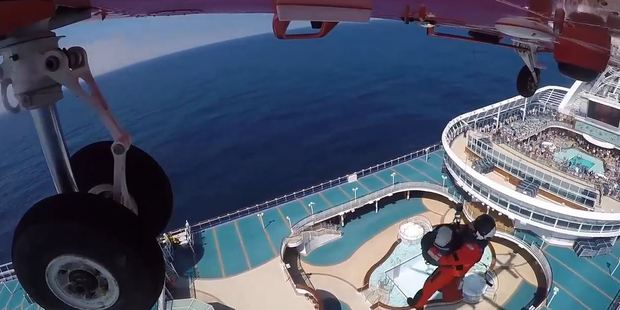 Loading Ambulance Victoria winched Kathie Joh to a helicopter hovering over the cruise ship. Photo / Twitter @AmbulanceVic