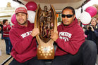 Brett Stewart and Steve Matai hold the NRL Premiership trophy in 2011. Photo / Getty