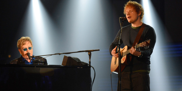 Elton John and Ed Sheeran perform onstage together. Photo / Getty