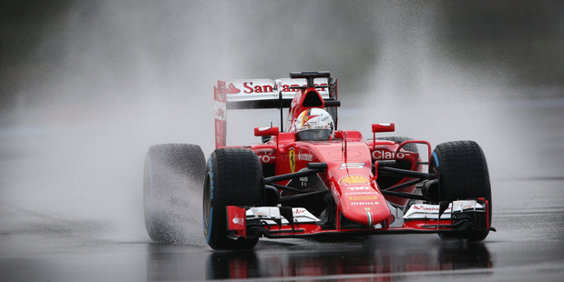 Sebastian Vettel drives during wet weather tyre testing at Circuit Paul Ricard. Photo / Getty Images
