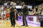 36ers coach Joey Wright yells at a ref. Photo / Getty