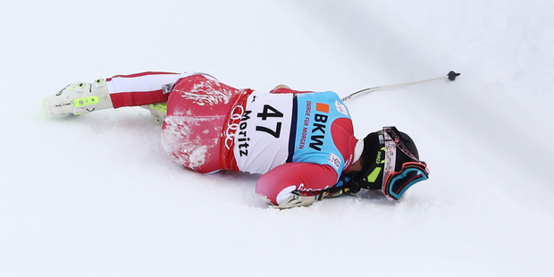 Loading Olivier Jenot of Monaco crashes out during the Men's Super G during the FIS Alpine World Ski Championships in St Moritz, Switzerland.