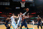 Steven Adams of the Oklahoma City Thunder goes for a reverse layup during the game against the Cleveland Cavaliers. Photo / Getty