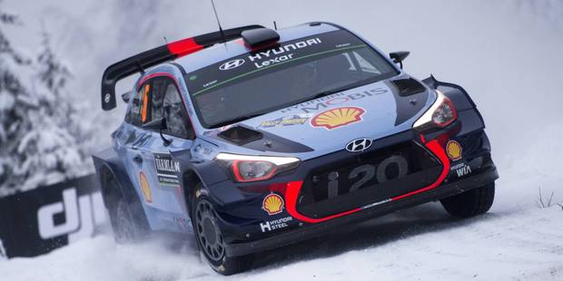 Thierry Neuville leads Rally Sweden after the first full day of action. Photo / Red Bull Media