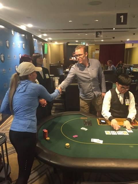 Sarah Saifi congratulates Espen Myrmo on his win
