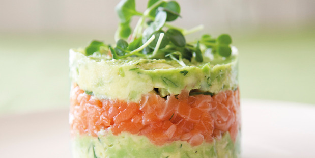 Salmon and avocado towers. Photo / Annabel Langbein Media