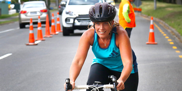 Ohakune's Emma Rowe begins the bike leg on Anzac Parade.