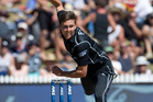 Black Cap Trent Boult in action during today's third ODI Chappell-Hadlee match. Photo / Alan Gibson