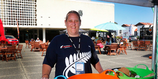 Volunteer Kim Harrison is recycling monitor at the New Zealand Masters Games Whanganui. PHOTO/ BEVAN CONLEY