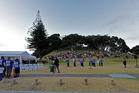 The Ratana Band performing at the Waitangi Day dawn service on Hopukiore (Mount Drury), Mount Maunganui today.  Photo/George Novak