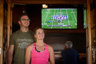FOOTBALL FEVER: Jason and Hailey White from Tennessee caught the Super Bowl action at the Pig and Whistle. PHOTO/STEPHEN PARKER