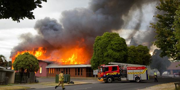Fire in full blaze at the St John's Church in Rotorua. Photo/Ben Fraser