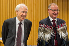Judge Paul Mabey QC (left) supported by senior Rotorua Judge Phillip Cooper (right) was welcomed onto the Rotorua bench yesterday. Photo/Ben Fraser.