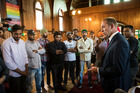 Andrew Little meets Indian students facing deportation at the Unitarian Church in Ponsonby today. Photo / Jason Oxenham