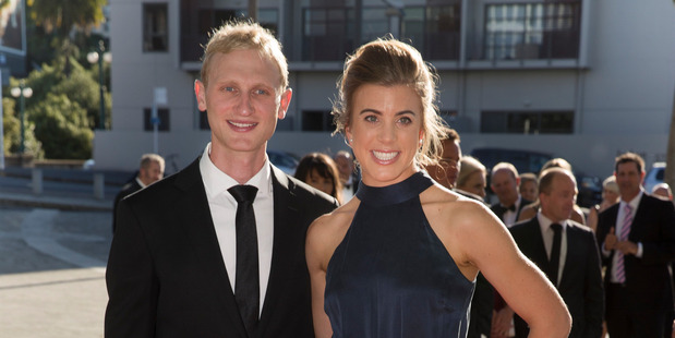 Olympic rower Hamish Bond and wife, Lizzie Travis arrive. Photo / Nick Reed