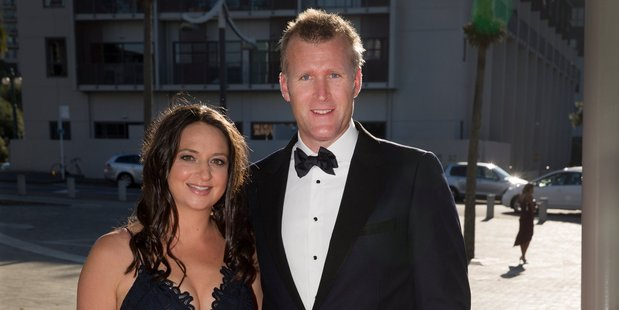 Olympic rower Mahe Drysdale and wife, Juliette Haigh arrive. Photo / Nick Reed