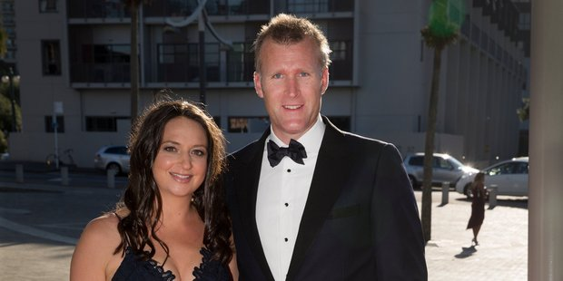 Olympic rower Mahe Drysdale and wife, Juliette Haigh. Drysdale took the Sportsman of the Year award. Photo / Nick Reed.
