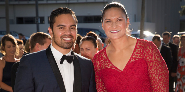 Olympian Dame Valerie Adams and partner Gabriel Price arrive. Photo / Nick Reed