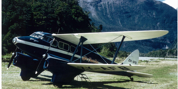 The De Havilland Dragonfly ZK-AFB at Milford Sound shortly before its mysterious disappearance on February 12, 1962.  Photo / Edna Bates