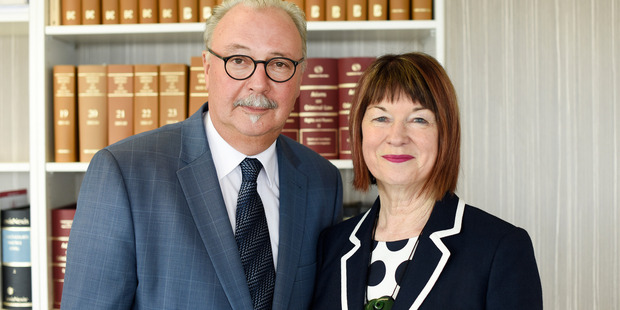 Judge Peter Rollo with his wife Judge Annis Somerville on the eve of their retirement Photo/George Novak.
