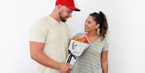 They say the way to a man's heart is through his stomach, so KFC have created the ultimate Valentine's Day present for the man in your life - a fried chicken bouquet. Photo / Supplied