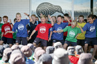 Students perform a haka at the opening of Pillans Point School's 8 new classrooms. Photo/Andrew Warner