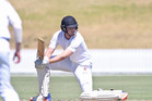 FOCUSED: Bay of Plenty opener Tom MacRury plays a square drive at the start of the second innings against Hawke's Bay. PHOTO: JOHN BORREN