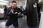 New Zealand heavyweight boxer Joseph Parker during a training session at The Wreck Room in Auckland ahead of his fight on October 1. Photo / Andrew Cornaga
