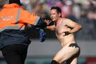 Online footage of the Eden Park streaker was viewed hundreds of thousands of times. Photo / Photosport