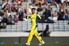 Australian batsman Marcus Stoinis celebrates his century against New Zealand Black Caps. Photo/Photosport