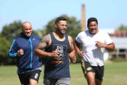 Robbie Magasiva (centre) trains for the Partners Life Dual Triathlon with  teammates  Leituva'a Fili (left) and Stevan Magasiva,  Photo/Chris Loufte