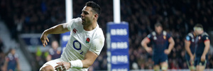 England's Ben Te'o reacts after scoring a try during their Six Nations international rugby union match between England and France. Photo / AP