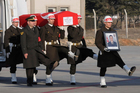 Turkish soldiers carry the national flag-draped coffin of Mehmet Åžahin, 25, accidentally killed in a Russian airstrike around the northern Syrian town al Bab. Photo / AP