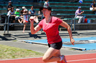INTERNATIONAL: Toni Phillips from Kangaroo Flats, Australia had a busy time on the masters track, inlcuding this first women home performance in the W40-50 100m dash. PHOTO/Bevan Conley