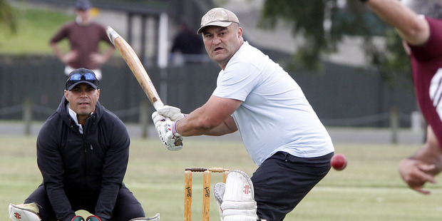 Tony Tatana of the River City Knight Riders lines up a shot at Victoria Park during the NZMG cricket tournament.