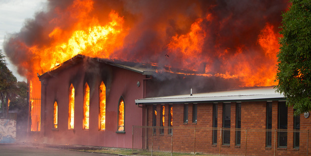 Loading Police are investigating the fire which destroyed the St John Presbyterian Church in Rotorua last night.