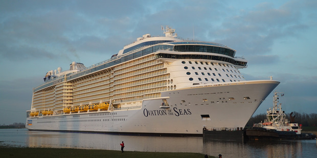 Loading Mega ship Ovation of the Seas will make its final New Zealand call of the summer in Auckland today.