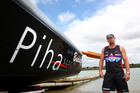 Mark Bourneville with the Piha Surf Life Saving Club surf boat at Westhaven marina in 2014. Photo/Getty Images