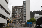 Demolition work continues on the nine-storey building at 61 Molesworth St, Wellington, which was badly damaged in the Kaikoura earthquakes. Phtoo / Mark Mitchell