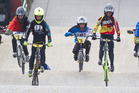 Club members in action at the Rotorua BMX Club championships and Have A Go day. 19 April 2015 Rotorua Daily Post photograph by Stephen Parker. RGP 20Apr15 - FAST AND FURIOUS: Members of the BM